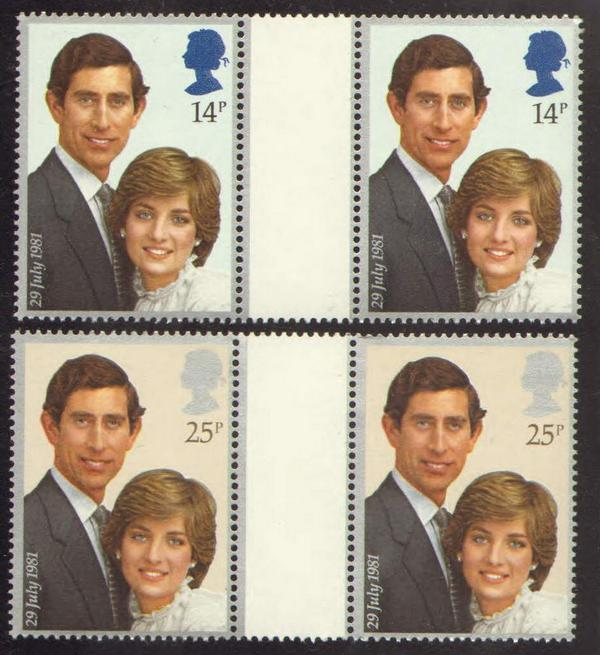 1981 GB - Charles and Diana Wedding Gutter Pair Set (4) MNH